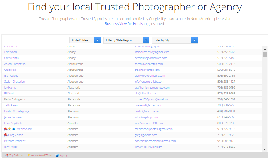 Find A Google Trusted Photographer or Agency